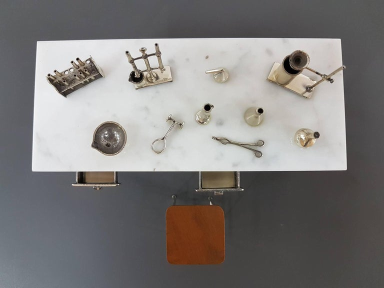 Cast 20th Century Italian Sterling Silver - Marble Miniature Chemist Worktable For Sale