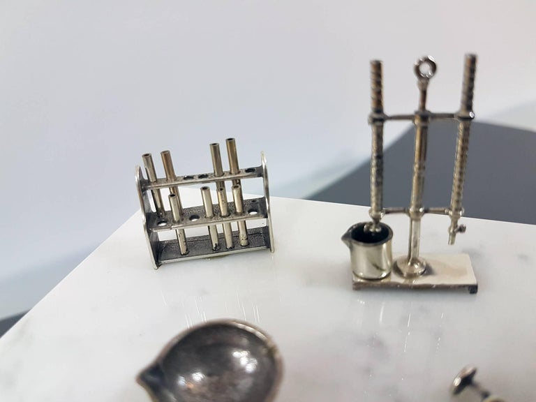 20th Century Italian Sterling Silver - Marble Miniature Chemist Worktable For Sale 2