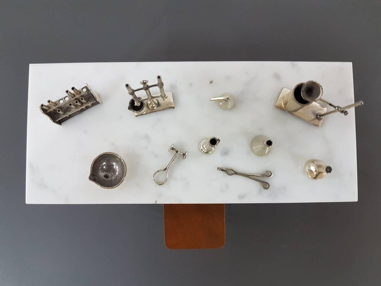20th Century Italian Sterling Silver - Marble Miniature Chemist Worktable For Sale 4