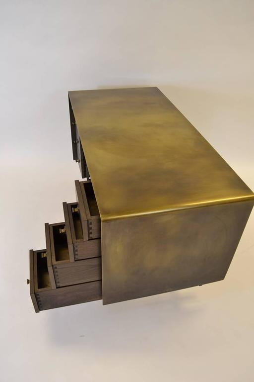 Custom Bent Office/Writing Desk, Made of Bronze and Walnut Drawers For Sale 2