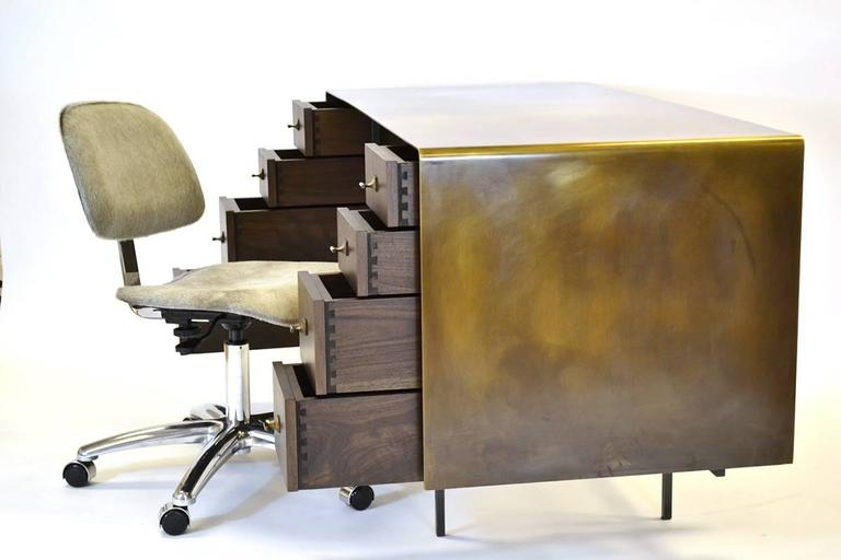 Custom Bent Office/Writing Desk, Made of Bronze and Walnut Drawers For Sale 1