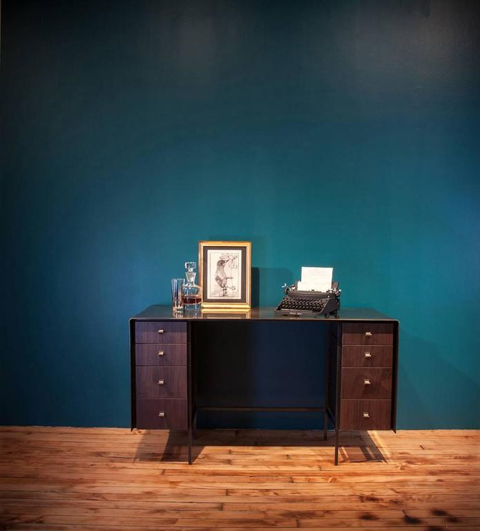 Custom Bent Office/Writing Desk, Made of Bronze and Walnut Drawers For Sale 6