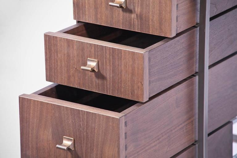 Custom Bent Office/Writing Desk, Made of Bronze and Walnut Drawers For Sale 3
