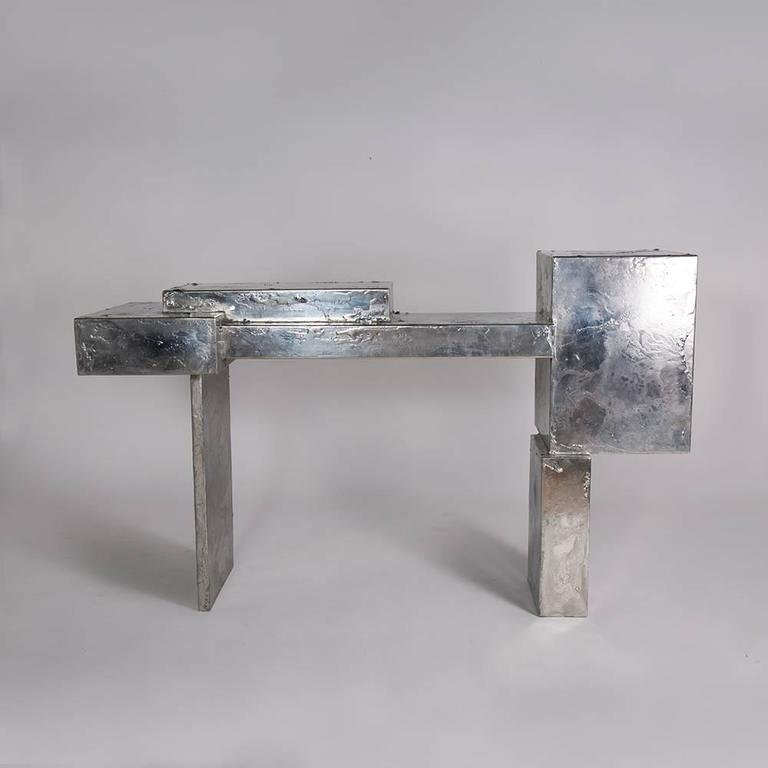 American Modern Pewter Console Table, Made with Steel on Pewter For Sale