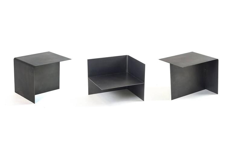 American Modern Modular T Tables for Cocktail and Coffee Table, Made of Darkened Stainless Steel For Sale