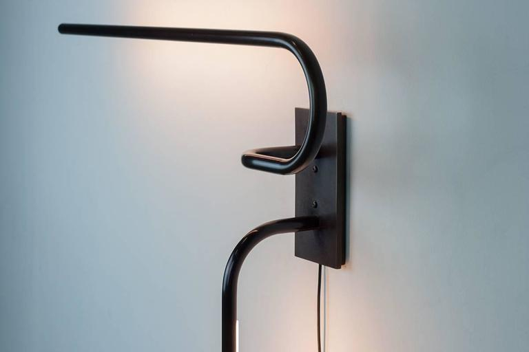 Modern Tube Wall Light and Sconce, Made of Patinated Brass, Handcrafted in Chicago For Sale