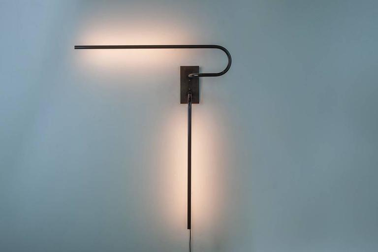 American Tube Wall Light and Sconce, Made of Patinated Brass, Handcrafted in Chicago For Sale