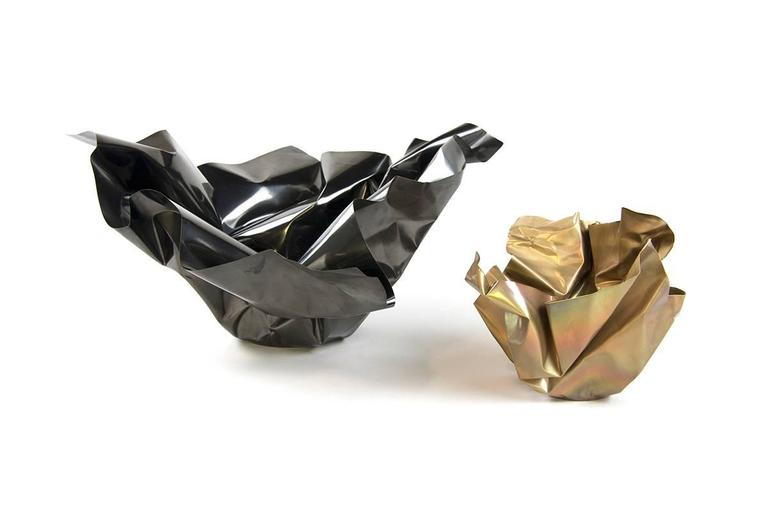 Patinated Paper Bowl 3, Made of Crumpled Brass Sheet, Handcrafted and Formed in Chicago For Sale