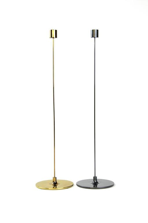 Modern Pin Candle Sticks with Three Sizes, Handcrafted in Brass with Patinated Finishes For Sale