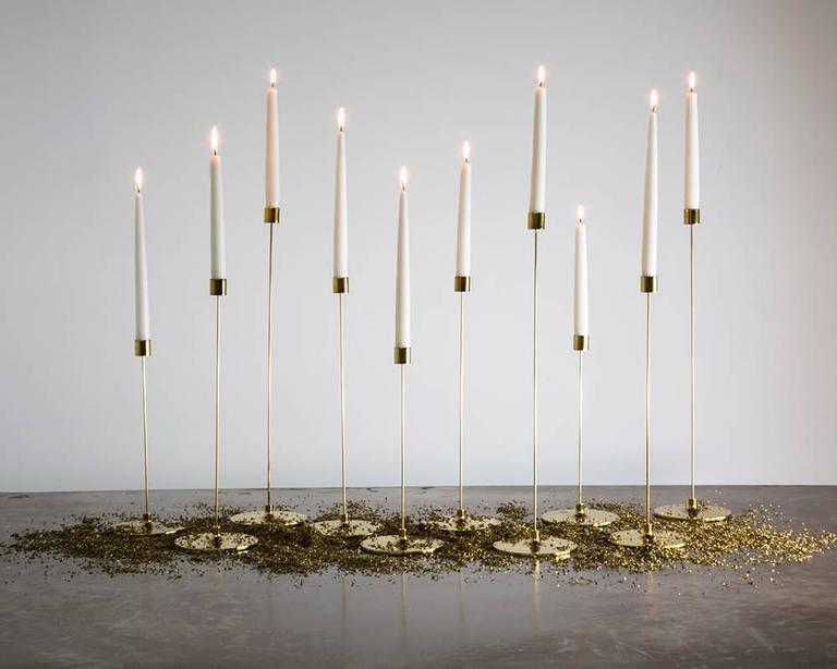 American Pin Candle Sticks with Three Sizes, Handcrafted in Brass with Patinated Finishes For Sale