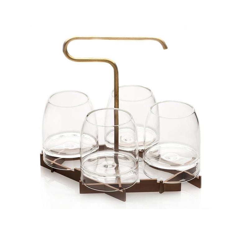 American Modern Rare Whiskey Glass with Presenter, Includes Presenter and Four Set of Glasses For Sale