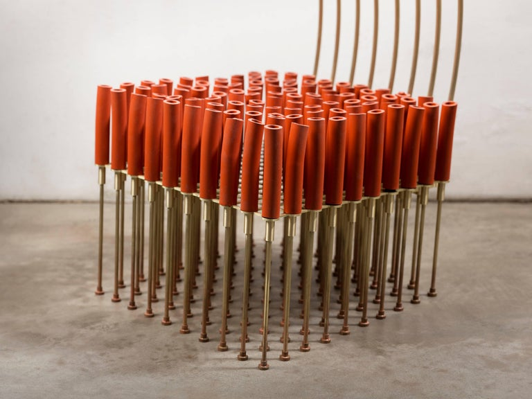Burnished Chair with Tubes and Brass For Sale