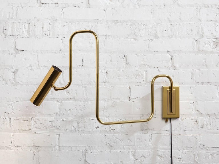 American Pivot Single Wall Sconce with Articulating Arms in Brass For Sale
