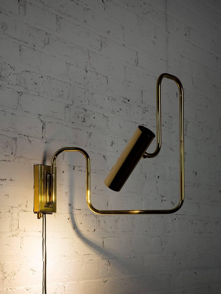 Plated Pivot Single Wall Sconce with Articulating Arms in Brass For Sale