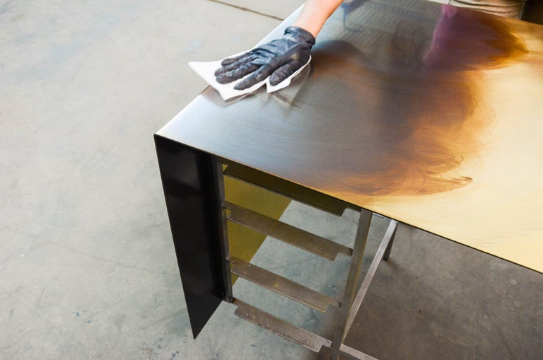 Custom Bent Office/Writing Desk, Made of Bronze and Walnut Drawers For Sale 5