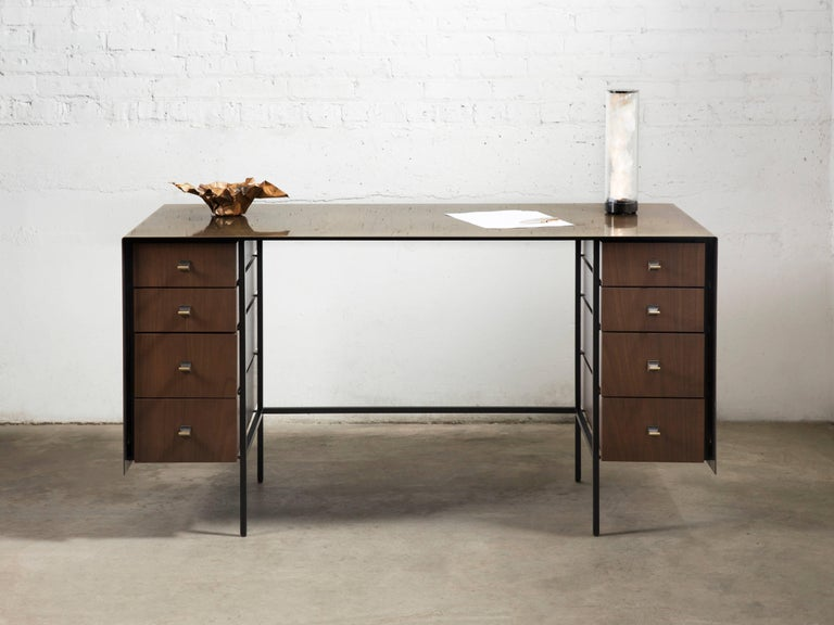Modern Custom Bent Office/Writing Desk, Made of Bronze and Walnut Drawers For Sale