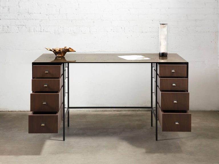 Patinated Custom Bent Office/Writing Desk, Made of Bronze and Walnut Drawers For Sale