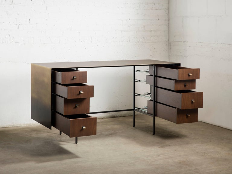 Contemporary Custom Bent Office/Writing Desk, Made of Bronze and Walnut Drawers For Sale