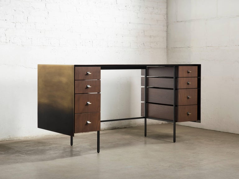 American Custom Bent Office/Writing Desk, Made of Bronze and Walnut Drawers For Sale