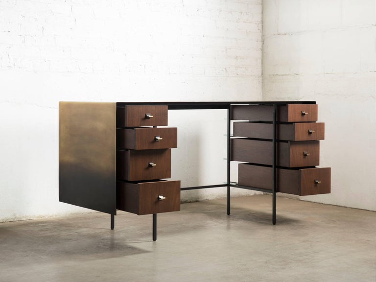 Custom Bent Office/Writing Desk, Made of Bronze and Walnut Drawers In New Condition For Sale In Chicago, IL