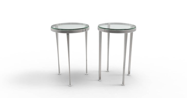 American Modern Ainslie Side Table, Nickle-Plated Steel with Star-Fire Edged Glass For Sale