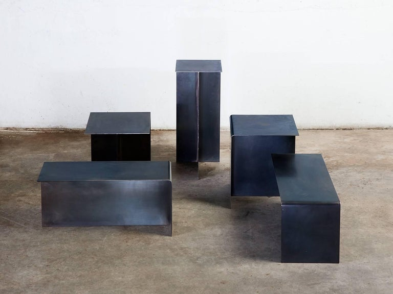 Patinated Modular T Tables for Cocktail and Coffee Table, Made of Darkened Stainless Steel For Sale