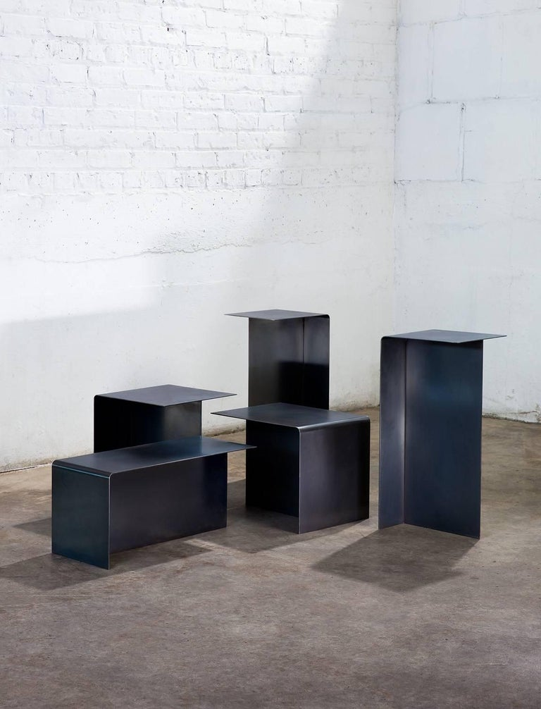 Modular T Tables for Cocktail and Coffee Table, Made of Darkened Stainless Steel In New Condition For Sale In Chicago, IL