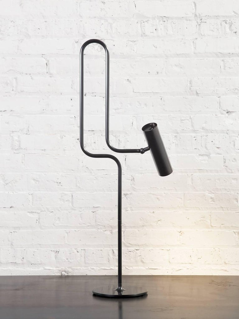 Modern Pivot LED Desk or Table Lamp with Articulating Arms in Patinated Brass For Sale