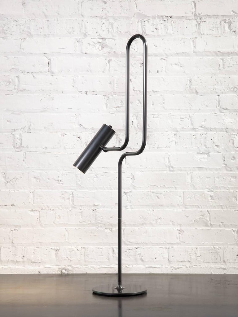 American Pivot LED Desk or Table Lamp with Articulating Arms in Patinated Brass For Sale