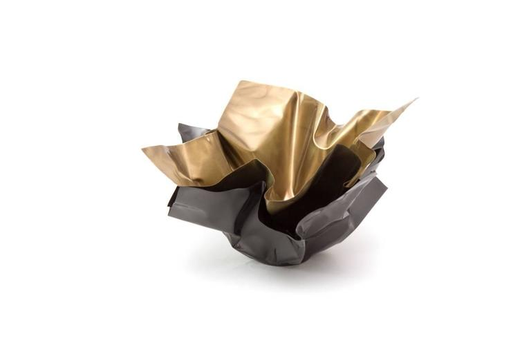 Contemporary Paper Bowl 1, Made of Crumpled Brass Sheet, Handcrafted and Formed in Chicago For Sale