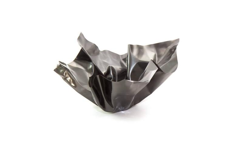 Patinated Paper Bowl 1, Made of Crumpled Brass Sheet, Handcrafted and Formed in Chicago For Sale