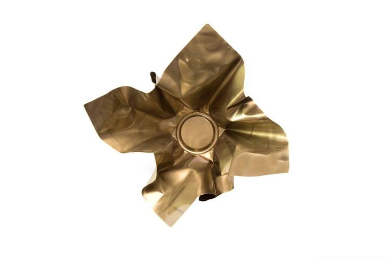 American Paper Bowl 1, Made of Crumpled Brass Sheet, Handcrafted and Formed in Chicago For Sale