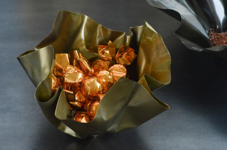 Paper Bowl 1, Made of Crumpled Brass Sheet, Handcrafted and Formed in Chicago For Sale 2