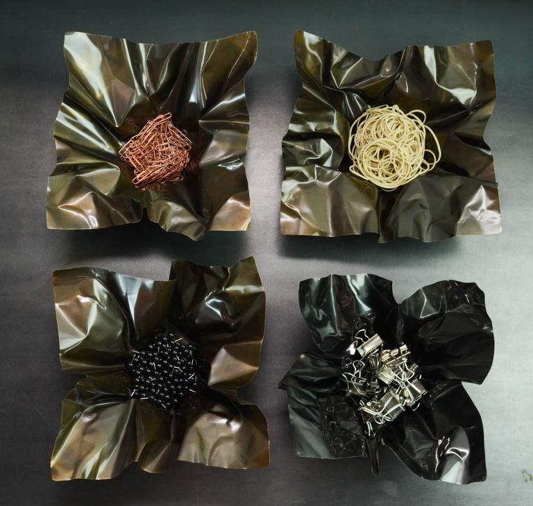 Paper Bowl 1, Made of Crumpled Brass Sheet, Handcrafted and Formed in Chicago For Sale 3