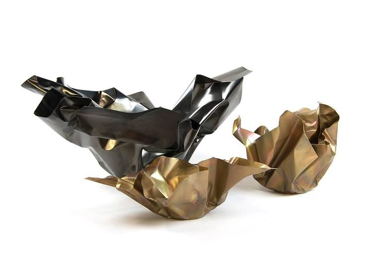 Contemporary Paper Bowl Two, Made of Crumpled Brass Sheet, Handcrafted and Formed in Chicago For Sale