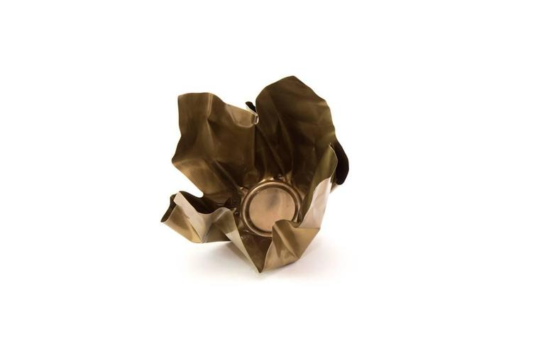 Modern Paper Bowl Two, Made of Crumpled Brass Sheet, Handcrafted and Formed in Chicago For Sale