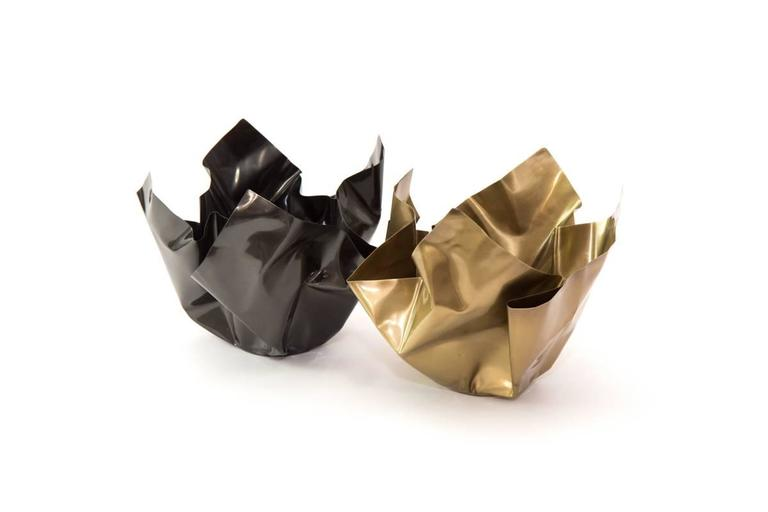 Paper Bowl Two, Made of Crumpled Brass Sheet, Handcrafted and Formed in Chicago In New Condition For Sale In Chicago, IL