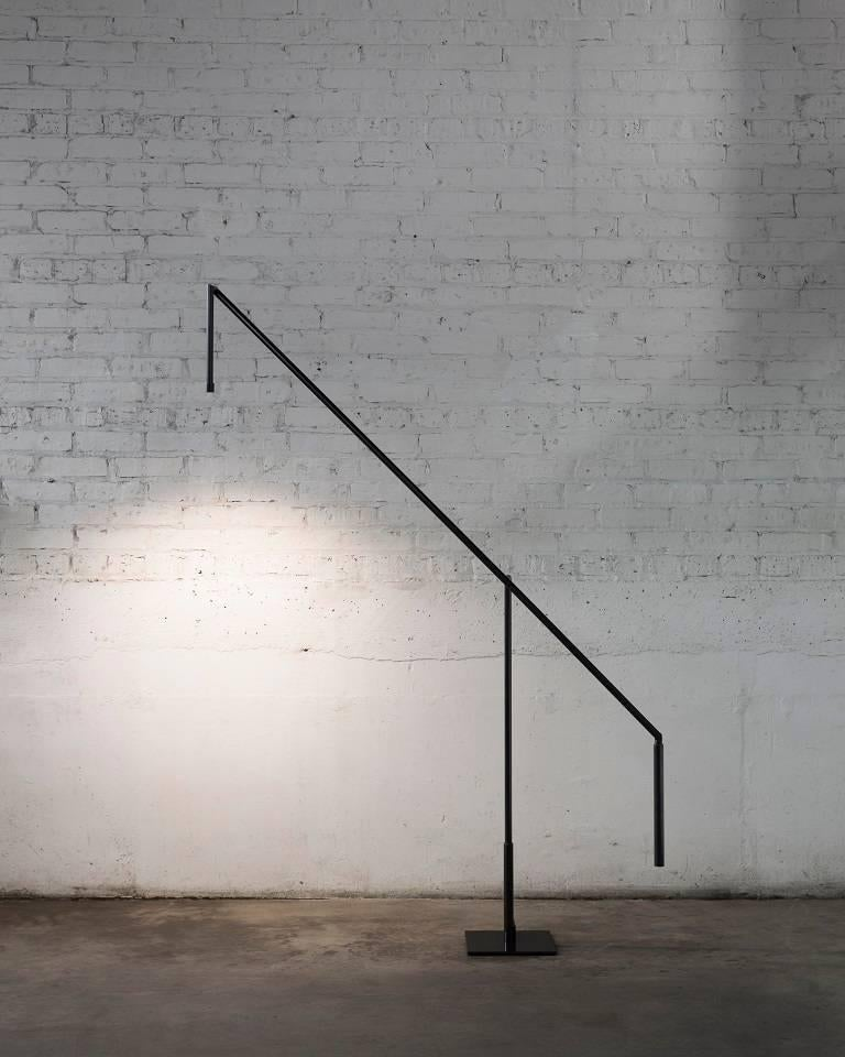 Modern Floor Lamp in Darkened Brass with LED For Sale