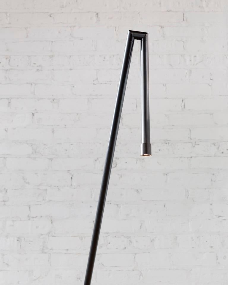 American Floor Lamp in Darkened Brass with LED For Sale