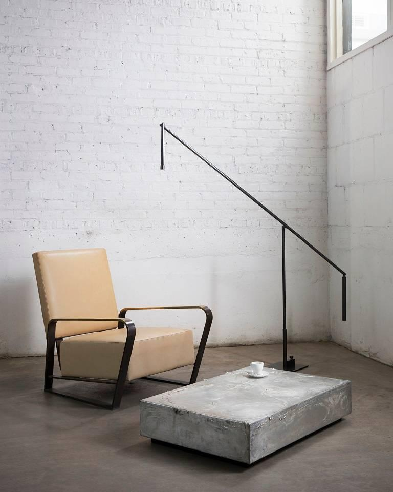Floor Lamp in Darkened Brass with LED In New Condition For Sale In Chicago, IL