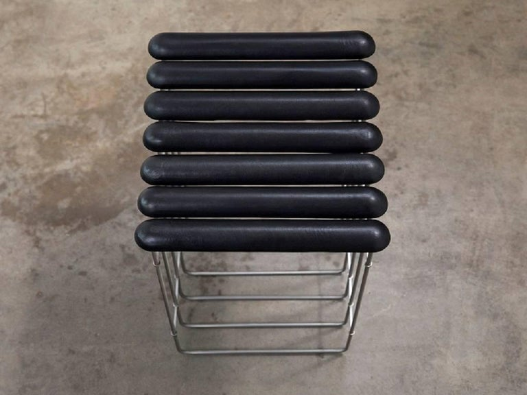Minimalist Stool #3 in Stainless Steel and Leather For Sale