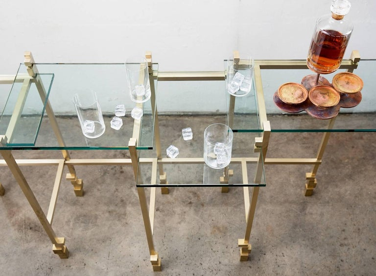 Modern Console Table in Brass and Glass For Sale