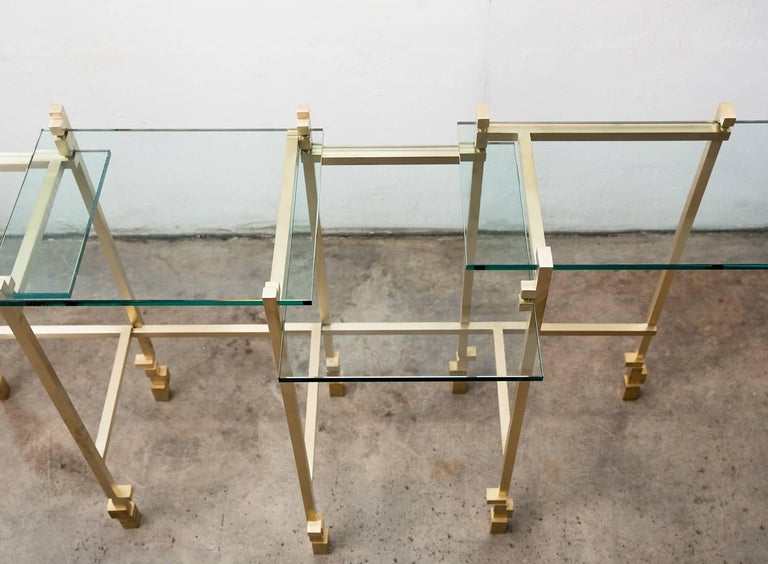 American Console Table in Brass and Glass For Sale
