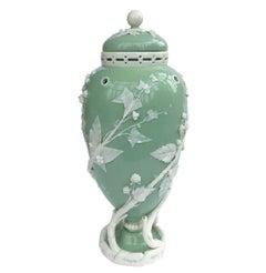 19th Century Minton Celadon Pate Sur Pate Vase