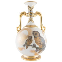 19th Century Royal Worcester Aesthetic Movement Owls Porcelain