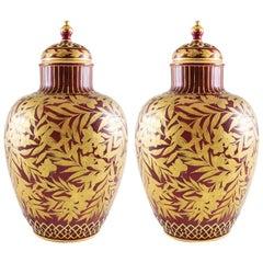 19th Century Royal Crown Derby Porcelain Sang De Boeuf Potpourri Vases