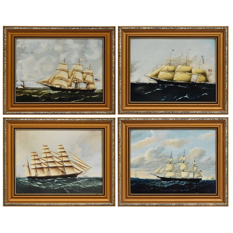 Clipper Ships of America after Original Painting Nautical Sailing Framed Plaques For Sale