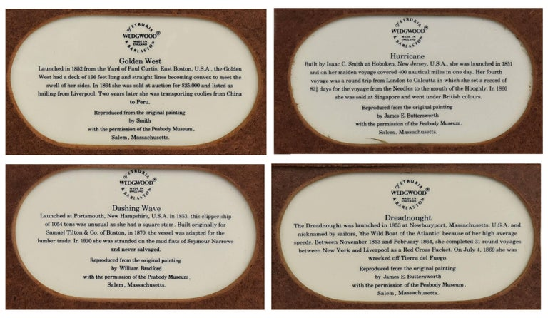 'Clipper ships of America'. A rare limited edition set of four late 20th century Wedgwood transfer printed plaques. Each bone china plaque in gilt wood frame depicting clipper Ships, all reproduced after original oil paintings from the Peabody