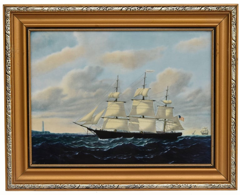 Enameled Clipper Ships of America after Original Painting Nautical Sailing Framed Plaques For Sale