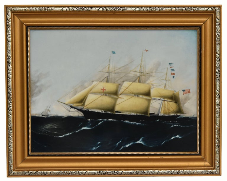 Clipper Ships of America after Original Painting Nautical Sailing Framed Plaques In Excellent Condition For Sale In limerick, Ireland